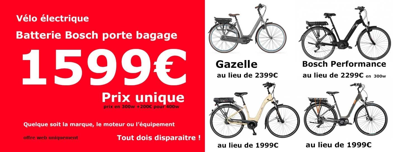Vélo électrique batterie Bosch Porte-Bagage à prix unique 1599€